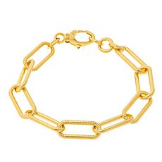 Soave Oro 14K Gold Electroform Polished and Textured Oval Bracelet