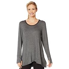 Soft & Cozy Crossover Hem Tunic with Chiffon Detail