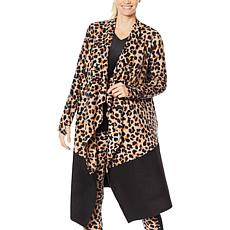 Soft & Cozy Fleece Drape Front Wrap with Colorblock Hem