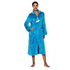 Soft & Cozy Loungewear Plush Zip-Front Long Robe