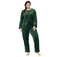 Soft & Cozy Plush Henley Top Pajama Set