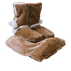 Soft & Cozy Plush Throw and Booties Gift Set