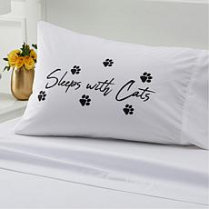 South Street Loft 100% Cotton Printed Pillowcase - Sleeps with Cats