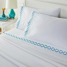 South Street Loft Embroidered Coastal 4-piece Sheet Set