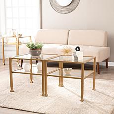 Southern Enterprises Dina Metal/Glass Bunching Cocktail Table - Gold