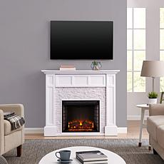 Southern Enterprises Faulkner Faux Stone Media Fireplace - White