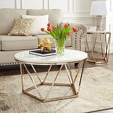 Southern Enterprises Jennly Round Faux Marble End Table - Champagne