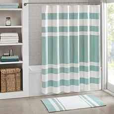 Spa Waffle Shower Curtain with 3M Treatment - Aqua/72""