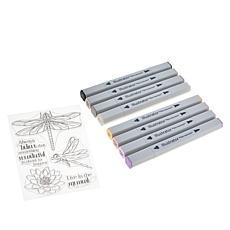 """Spectrum Noir """"Dragonfly"""" Clear Stamp and Illustrator Marker Set"""