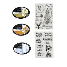 Spectrum Noir Metallic Holiday Ink Pads and Stamps Set