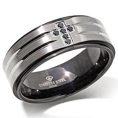 Stainless Steel Black-Diamond Cross 8mm Wedding Band