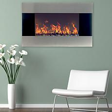 Stainless Steel Electric Fireplace With Wall Mount and Remote  36 q...
