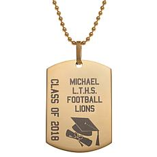 "Stainless Steel Graduation Dog Tag Pendant with 19-1/2"" Chain"