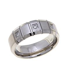 Stainless Steel Grooved and Diamond-Accent Wedding Band