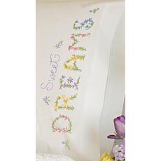 Stamped Embroidered Dreams Pillowcase Kit