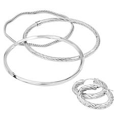 "Stately Steel 1-1/2"" Cable Hoop Earrings and 3-Bangle Bracelet Set"