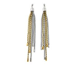 "Stately Steel 2-Tone 4-5/8"" Chain Tassel Drop Earrings"