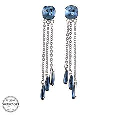 Stately Steel 3-Drop Crystal Earrings