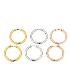 "Stately Steel 3-Pairs Tri-Tone Set of 7/8"" Hoop Earrings"