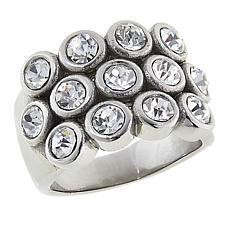 Stately Steel 3-Row Round Crystal Band Ring