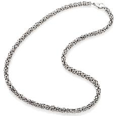 "Stately Steel 4mm 16"" Byzantine Chain Necklace"