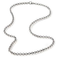 "Stately Steel 4mm 18"" Half-Round Rolo-Link Chain"