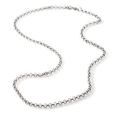 "Stately Steel 4mm 20"" Half-Round Rolo-Link Chain"