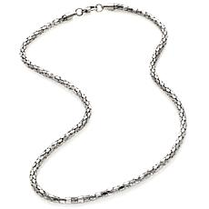 "Stately Steel 4mm 20"" Mirrored Mesh-Link Chain Necklace"