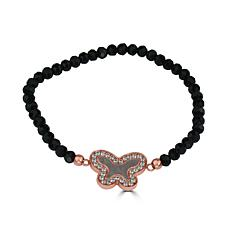 Stately Steel Beaded Crystal and Mother-of-Pearl Butterfly Bracelet