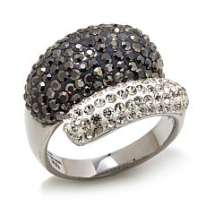 Stately Steel Black-and-White Crystal Bypass Ring