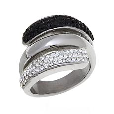 Stately Steel Black-and-White Crystal Open Layer Ring