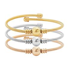 Stately Steel Cable Wire Ball 3-piece Bangle Set