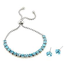 Stately Steel Crystal-Accent Adjustable Bolo Bracelet & Stud Earrings
