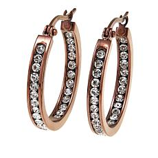 "Stately Steel Crystal Inside/Outside 1"" Brown-Plated Hoop Earrings"