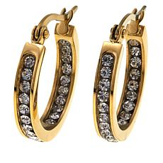 "Stately Steel Crystal Inside/Outside 3/4"" Hoop Earrings"
