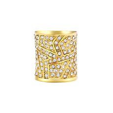 Stately Steel Cubic Zirconia Elongated Geometric Ring