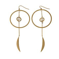 Stately Steel Cultured Freshwater Pearl Hoop & Crescent Drop Earrings