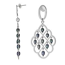 Stately Steel Cultured Freshwater Pearls Dangle Earrings