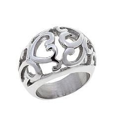 Stately Steel Double-Heart Cut-Out Ring