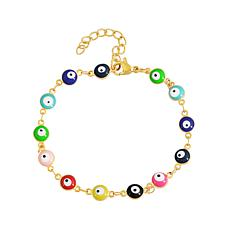 Stately Steel Enamel Evil Eye Chain Bracelet