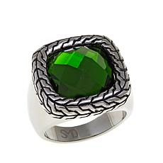 Stately Steel Faceted Glass Stone Ring