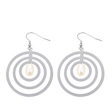 Stately Steel Freshwater Pearl Circle Drop Earrings