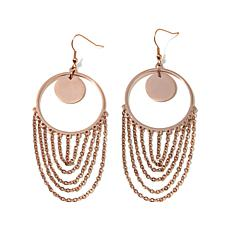 "Stately Steel ""Fringe"" Drop Round Hoop Earrings"