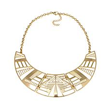 "Stately Steel Geometric Bib 16"" Rolo Chain Necklace"
