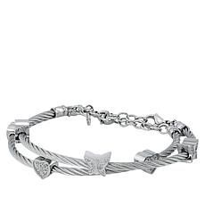 Stately Steel Heart and Butterfly Crystal Cable Bracelet