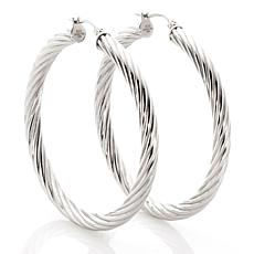 Stately Steel Hollow Tube Round Cable Hoop Earrings