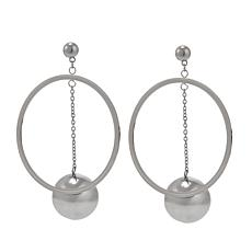 Stately Steel Hoop and Ball Drop Earrings