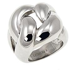 Stately Steel Large Braided Ring