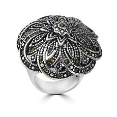 Stately Steel Marcasite Flower Ring