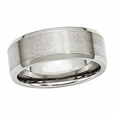 Stately Steel Men's Beveled Brushed 8mm Band Ring